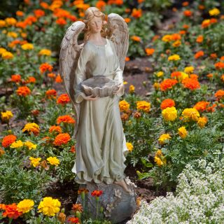 Angel Bird Feeder Statue   Garden Statues