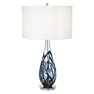 Pacific Coast Lighting Indigo Swirl Art Glass Table Lamp   Table Lamps