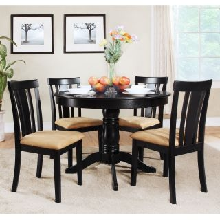 Tibalt 5 pc. Round Black Dining Table Set   42 in. with Slat Back Chairs   Dining Table Sets