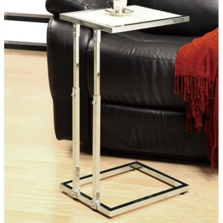Monarch Square Chrome Metal Adjustable Height Accent Table   Glossy White   End Tables