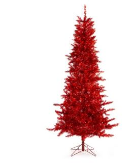 Red Tiffany Tinsel Pre Lit Christmas Tree   Christmas Trees