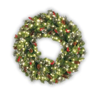 24 in. Crestwood Spruce Wreath   Clear Lights   Christmas Wreaths