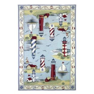 KAS Rugs Colonial 1800 Lakehouse Views Area Rug   Light Blue   Area Rugs