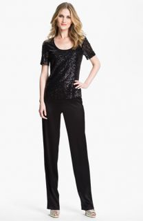St. John Collection Sequin Top & Satin Pants