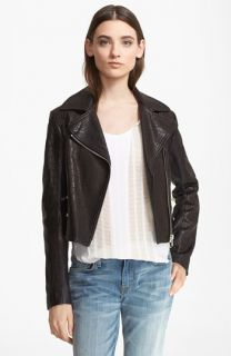 Vince Snake Embossed Leather Jacket