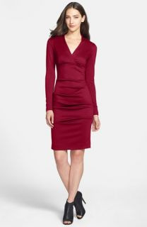Nicole Miller Ruched Ponte Sheath Dress