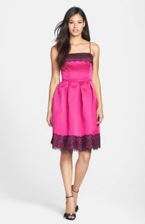 Isaac Mizrahi New York Lace Trim Satin Fit & Flare Dress