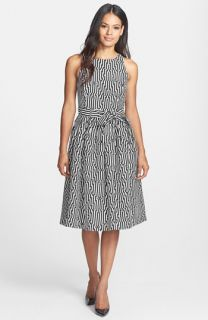 Isaac Mizrahi New York Geo Print Fit & Flare Dress
