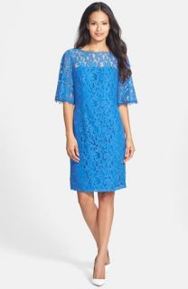 Adrianna Papell Illusion Yoke Lace Shift Dress
