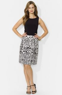 Lauren Ralph Lauren Print Skirt Fit & Flare Dress (Regular & Petite)