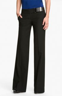 MICHAEL Michael Kors Leather Trim Wide Leg Pants