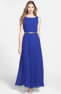 Eliza J Pleat Chiffon Maxi Dress