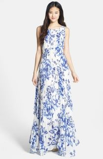 Eliza J Print Pleat Chiffon Maxi Dress (Regular & Petite)
