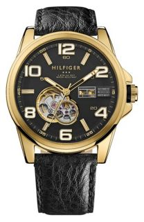 Tommy Hilfiger Automatic Leather Strap Watch, 46mm