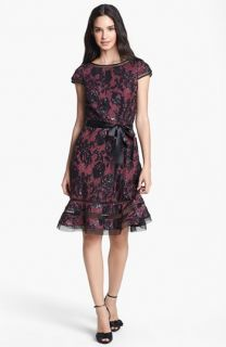 Adrianna Papell Ruffled Sequin Lace Dress