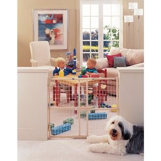 North States Extra Wide Wire Mesh Wood Gate North States Child Gates