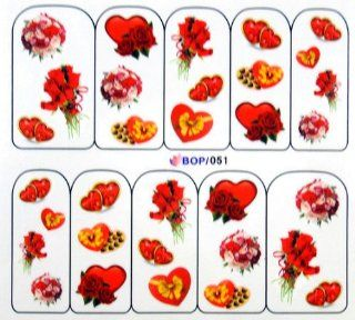 Egoodforyou BLE Water Slide Water Transfer Nail Tattoo Nail Decal Sticker Oil Portray (Bunches of Roses Flowers, Red Hearts and Candies) with one packaged nail art flower sticker bonus Beauty