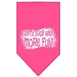 New Pet Products   Dirty Dog Screen Print Bandana Bright Pink Small + Free Gift of Beautiful Pet Charm (random style)