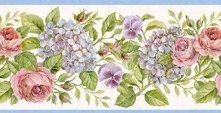 Wallpaper Border Pink Roses Purple Pansies & Blue Hydrangeas with Blue Trim