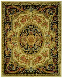 Safavieh Savonnerie Collection SAV206A Ivory and Gold Handmade Wool Round Area Rug, 6 Feet Round