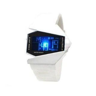 Airplane Style Unisex Blue Light Sport Digital Rubber LED Watch With White strap Watches