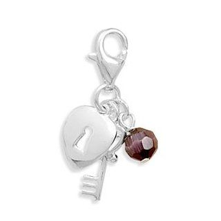 Purple Glass Cats Eye Bead Sterling Silver Key and Heart Charms Lobster Clasp   JewelryWeb Jewelry