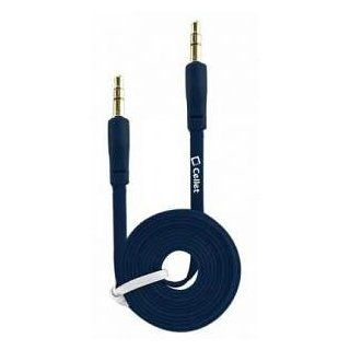 Samsung Reality 3.5mm Male To 3.5mm Male Auxiliary Audio Cable Adapter Blue 3 Ft Long Flat Style