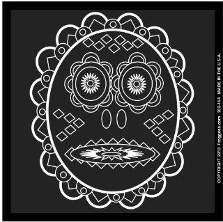 "TRIBAL DAY OF THE DEAD   WHITE LINE   STICK ON CAR DECAL SIZE 3 1/2"" x 3 1/2""   VINYL DECAL WINDOW STICKER   NOTEBOOK, LAPTOP, WALL, WINDOWS, ETC. COOL BUMPERSTICKER   Automotive Decals"