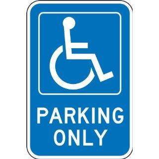 "Accuform Signs FRA234RA Engineer Grade Reflective Aluminum Handicap Parking Sign, For Federal, Legend ""PARKING ONLY"" with Graphic, 12"" Width x 18"" Length x 0.080"" Thickness, White on Blue"