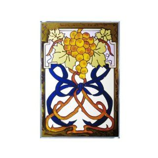 Grapes Painted/Stained Glass Panel V 238   Stained Glass Window Panels