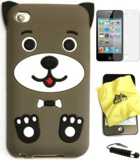 BUKIT CELL Apple IPOD TOUCH 4 4G 4TH GENERATION (ITOUCH 4 8GB 16GB 32GB) Dark Brown DOG PUPPY Silicone Silicon Case Cover + FREE Screen Protector + Bukit Cell Cleaning Cloth + Free WirelessGeeks247 Metallic Detachable Touch Screen STYLUS PEN with Anti Dust