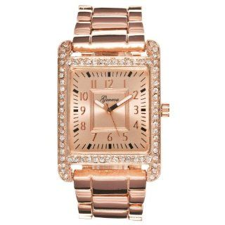 Geneva Womens Rectangle Case Rhinestone accented Watch, Rose Gold Watches