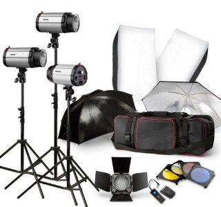 Strobe Studio Flash Light Kit 900W   Photographic Lighting   Strobes, Barn Doors, Light Stands, Triggers, Umbrellas, Soft Box Camera & Photo