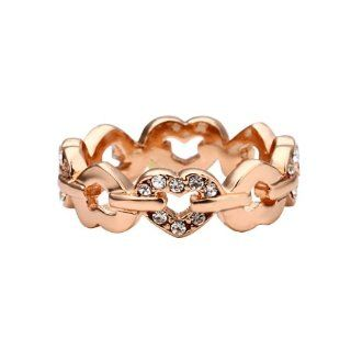 zacoo Love Heart Rose Gold Color Fashion Size 8 Ring Womens Finger Rings 18KRGP Shining Clear Crystal FJ0456 Jewelry