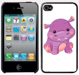 Apple iPhone 4 4S 4G Black 4B259 Hard Back Case Cover Color Cute Baby Hippo Cartoon Cell Phones & Accessories