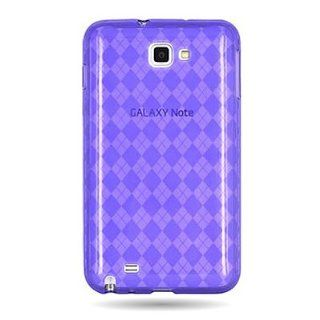 CoverON� Brand Flexi Gel SKin TPU PURPLE With Checkered Design Sleeve Glove Soft Cover Case for SAMSUNG I717 GALAXY NOTE LTE (AT&T) [WCE837] Cell Phones & Accessories