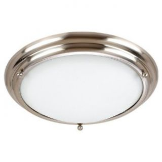 Sea Gull Lighting 79233BLE 98 4 Light Centra Fluorescent Flush Ceiling Fixture, Satin White Glass and Brushed Stainless   Vanity Lighting Fixtures