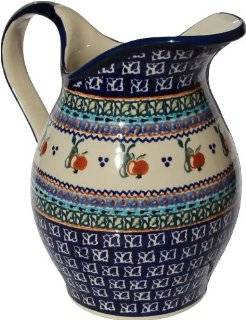 "Polish Pottery Pitcher 1.8 Qt. From Zaklady Ceramiczne Boleslawiec #1160 du71 Unikat Pattern, Height 7.9"" Capacity 1.8 Qt. Kitchen & Dining"