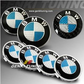 BMW 88 94 E32 7 Series Carbon Fiber Hood Trunk Roundel Steering wheel Emblem Wheel Cap Black & Silver Automotive