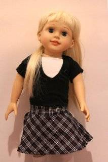 "One Peice Summer Sunday Outfit Short Sleeve Black w/ Connected White Dickey and a Plaid Skirt  Clothing for 18"" Dolls with a Hanger Toys & Games"