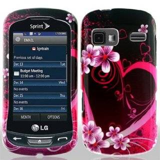 LG Rumor Reflex LN272 LN 272 Black with Hot Pink Love Hearts Flowers Design Snap On Hard Protective Cover Case Cell Phone Cell Phones & Accessories