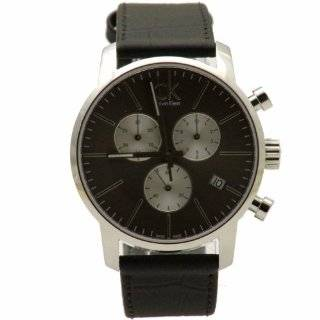 Calvin Klein Men's K2G271CX Black Leather Chronograph Watch Calvin Klein Watches