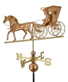 "26"" Luxury Polished Copper Country Doctor Horse & Carriage Weathervane Patio, Lawn & Garden"