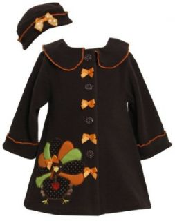 Bonnie Baby Baby girls Turkey Thanksgiving Fall Winter Coat Hat Set Clothing