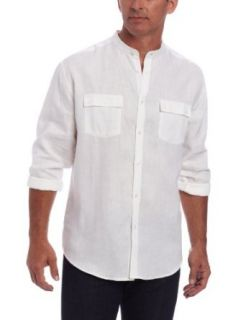 Cubavera Men's Long Sleeve Shirt with Banded Collar and Two Pockets, White, Medium Clothing