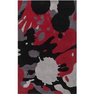 5' x 7.5' Abstract Paint Splatter Jet Black and Carmine Area Throw Rug