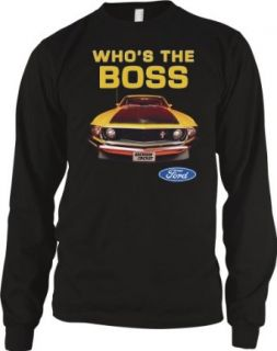 Who's The Boss Ford Mustang Mens Thermal Shirt, Officially Licensed Ford Mustang BOSS 302 Design Men's Long Sleeve Thermal Shirt, Medium, Black Clothing