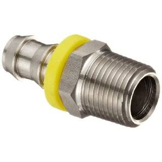"Dixon RPN44 Stainless Steel 303 Push On Hose Fitting, Adapter, 1/2"" NPTF Male x 1/2"" Hose ID Push On"