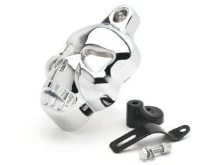 Harley Davidson Motorcycle Chrome Skull Horn Cover for Stock Cowbell Horns (1992 2013) Automotive