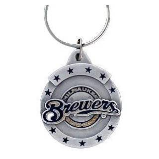 Pewter MLB Team Logo Key Ring   Milwaukee Brewers  Sports Related Key Chains  Clothing